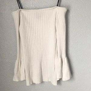 white off the shoulder ribbed top